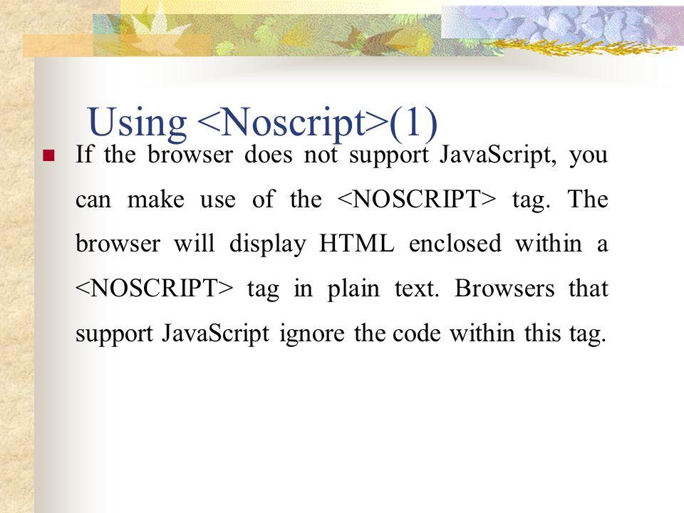 Using <Noscript>(1)