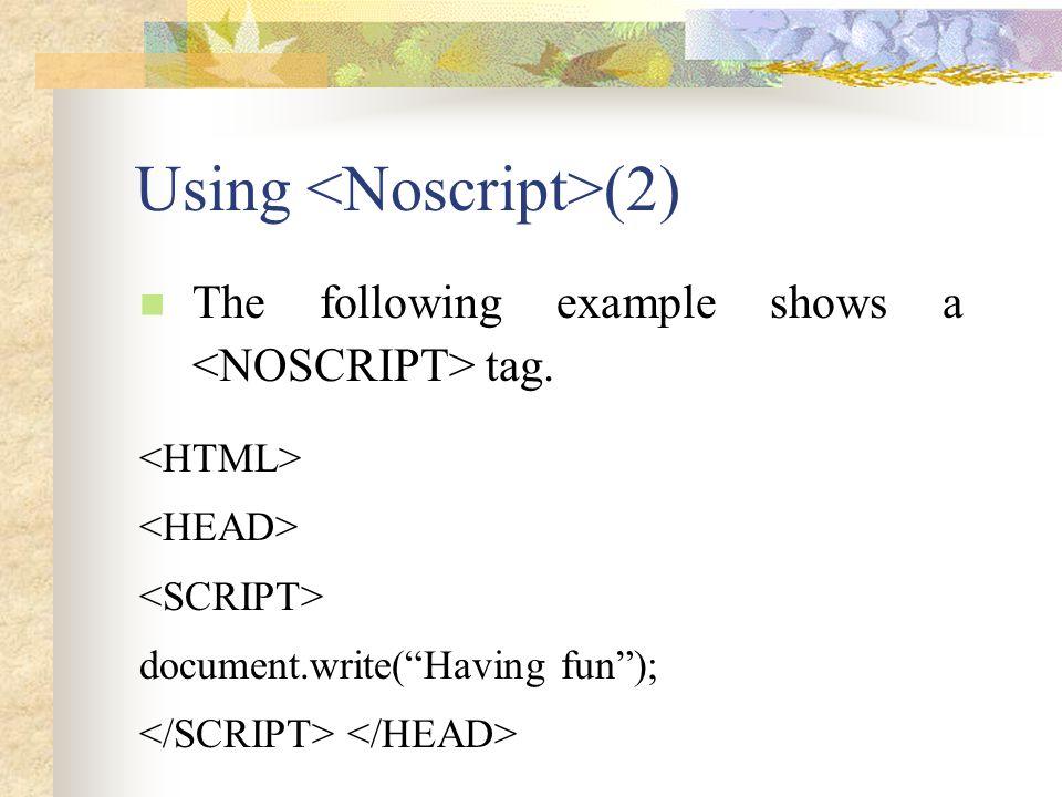 Using <Noscript>(2)