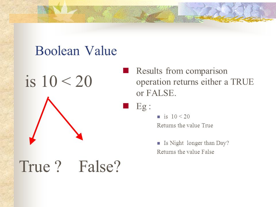 is 10 < 20 True False Boolean Value
