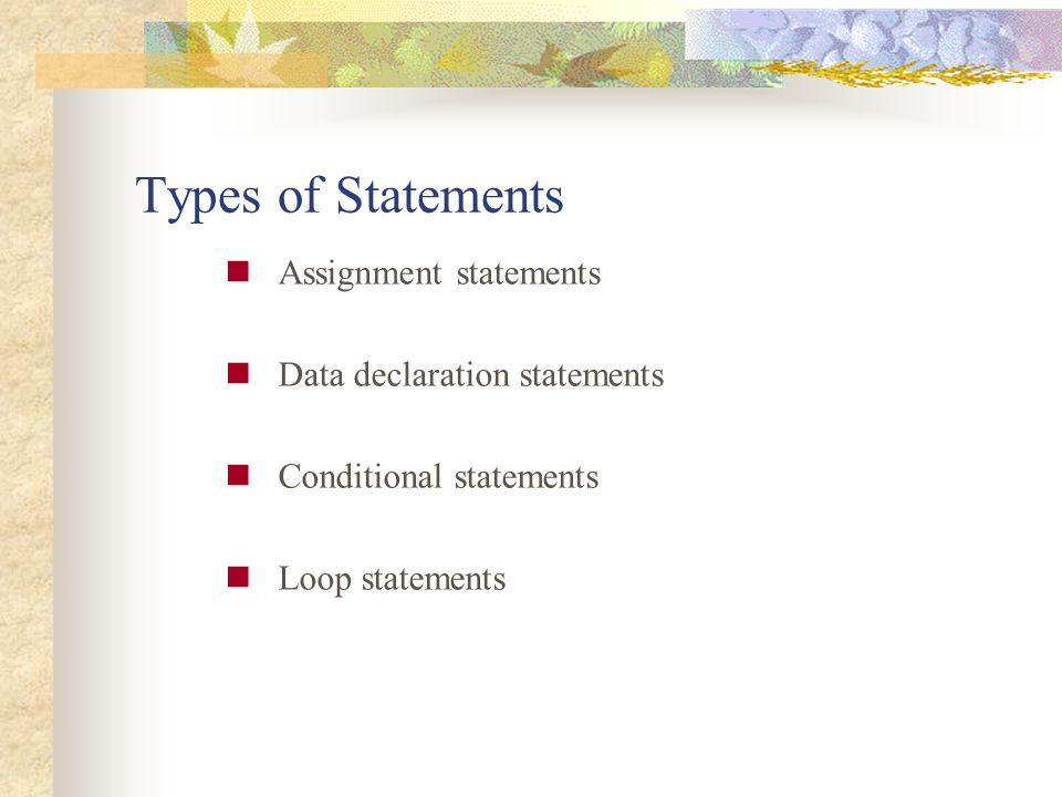 Types of Statements Assignment statements Data declaration statements