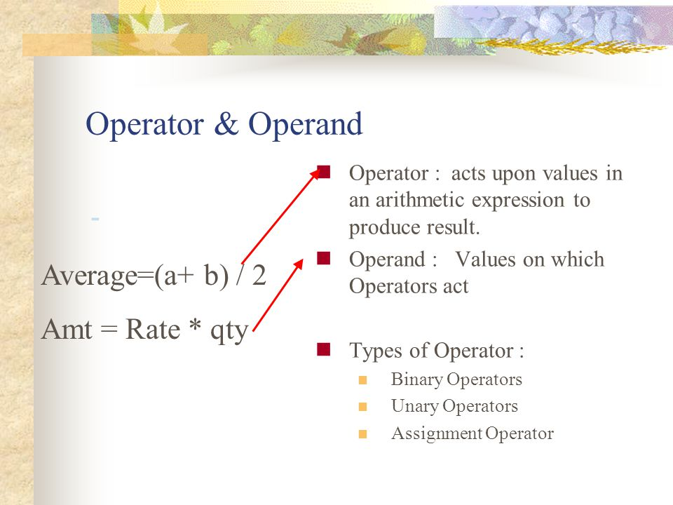 Operator & Operand Average=(a+ b) / 2 Amt = Rate * qty -