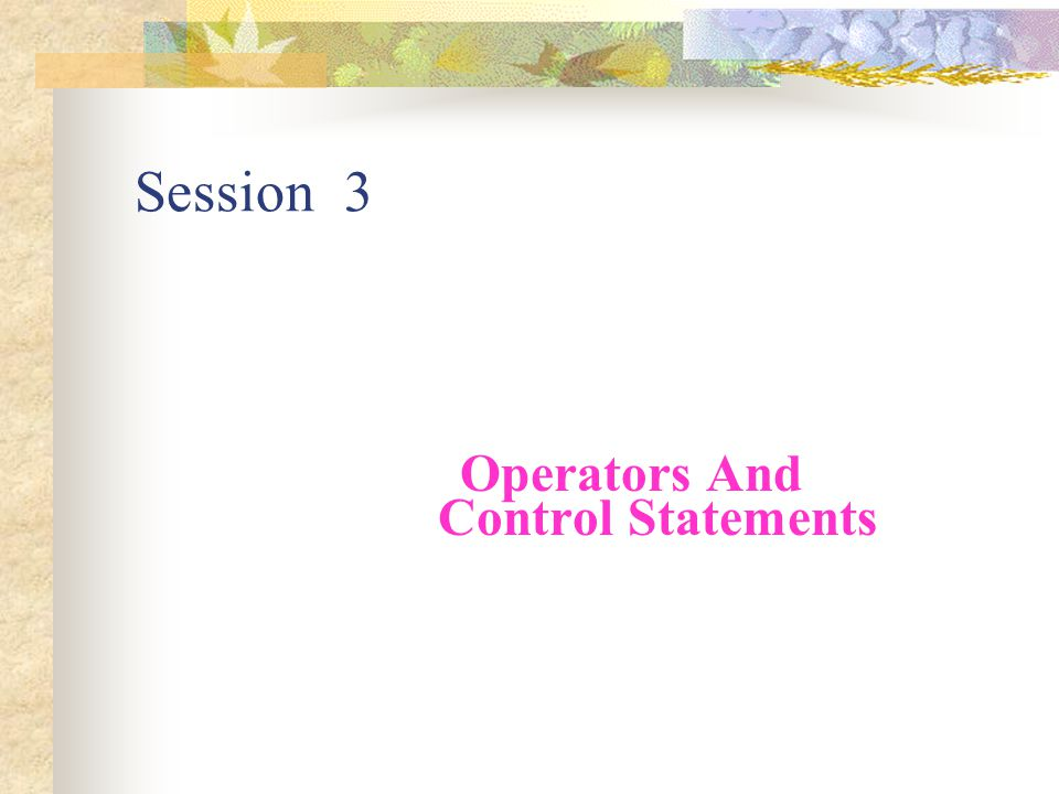 Operators And Control Statements