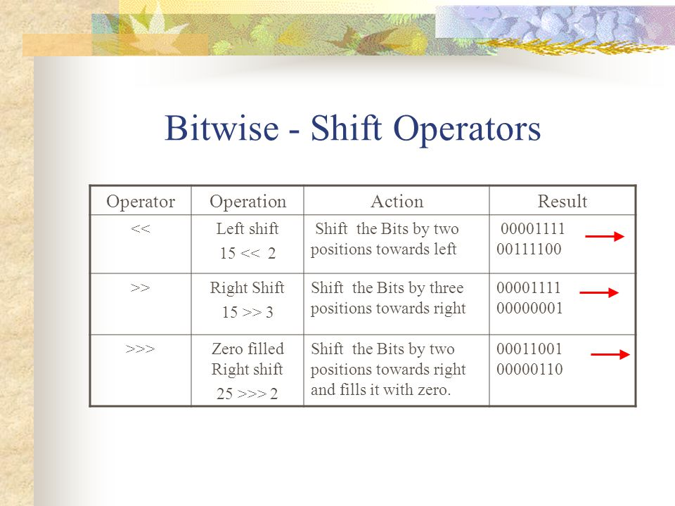 Bitwise - Shift Operators