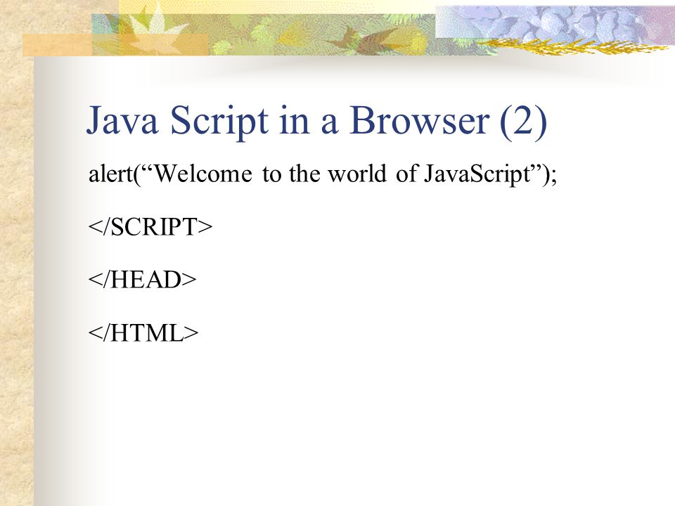 Java Script in a Browser (2)