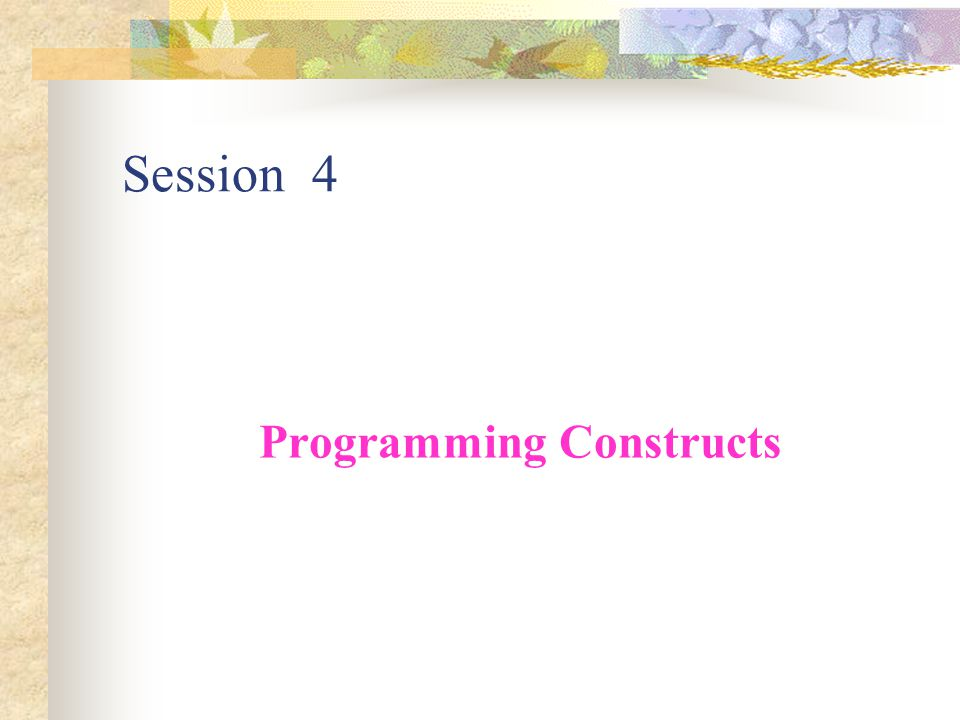 Programming Constructs