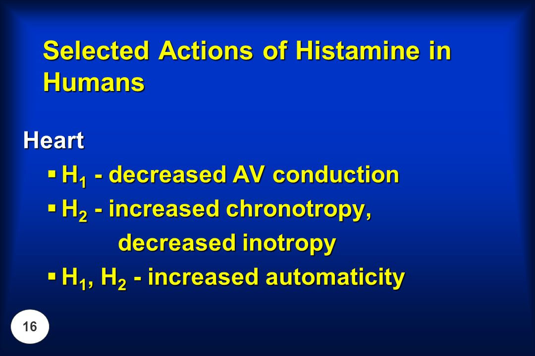 Selected Actions of Histamine in Humans