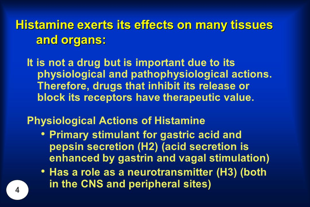Histamine exerts its effects on many tissues and organs: