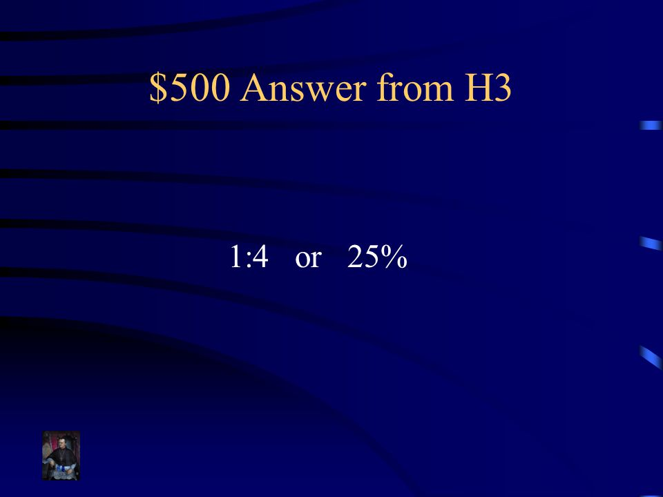 $500 Answer from H3 1:4 or 25%