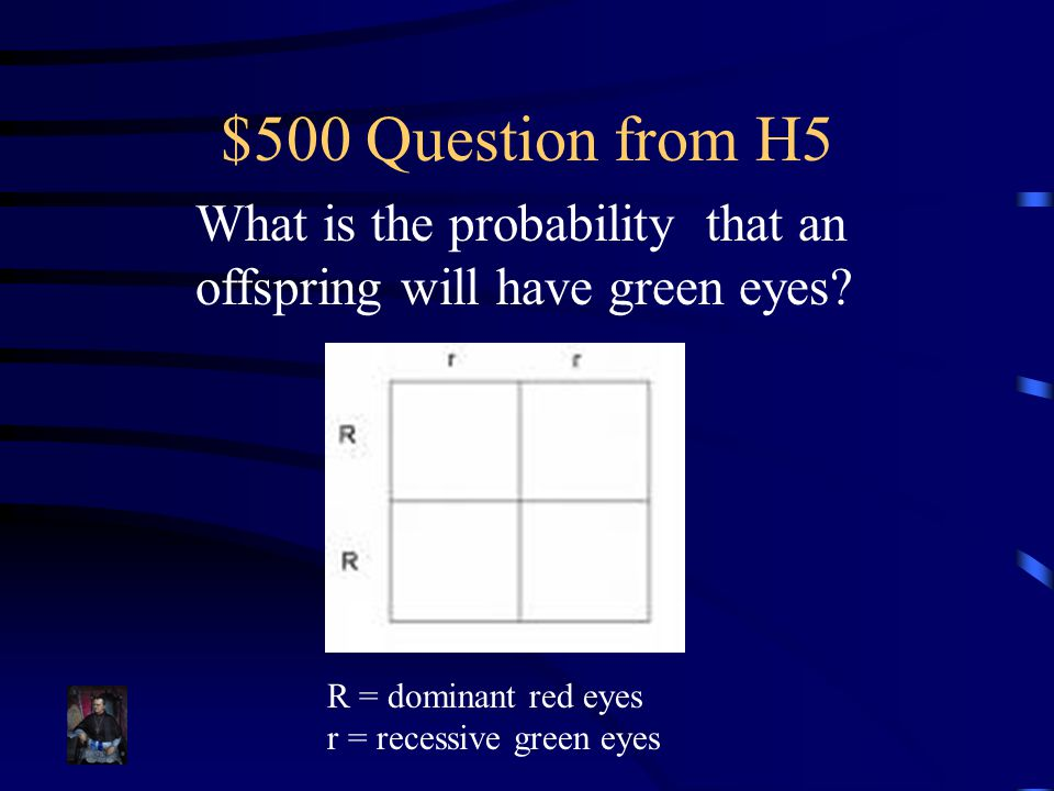 $500 Question from H5 What is the probability that an offspring will have green eyes R = dominant red eyes.