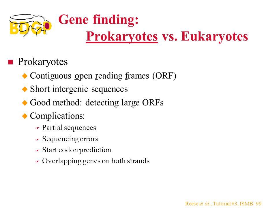 Gene finding: Prokaryotes vs. Eukaryotes