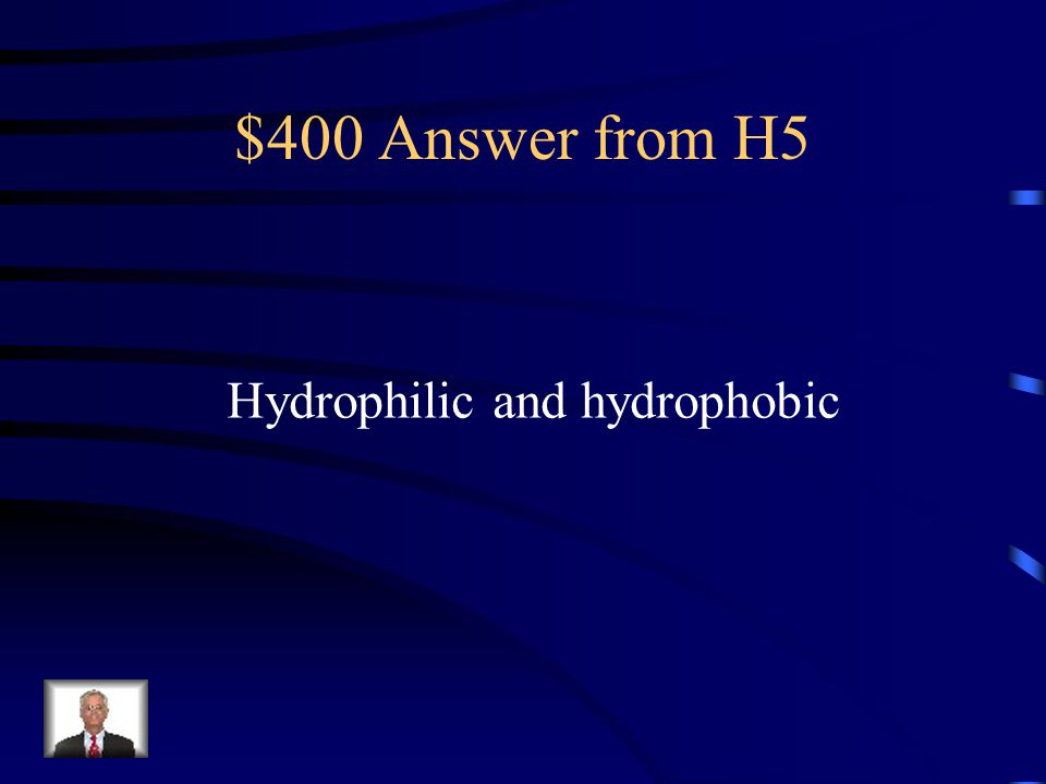 $400 Answer from H5 Hydrophilic and hydrophobic