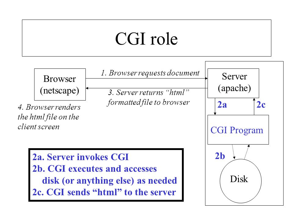 CGI role Server (apache) Browser (netscape) 2a 2c CGI Program