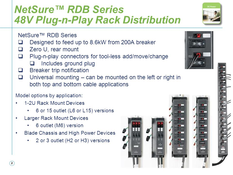 NetSure™ RDB Series 48V Plug-n-Play Rack Distribution