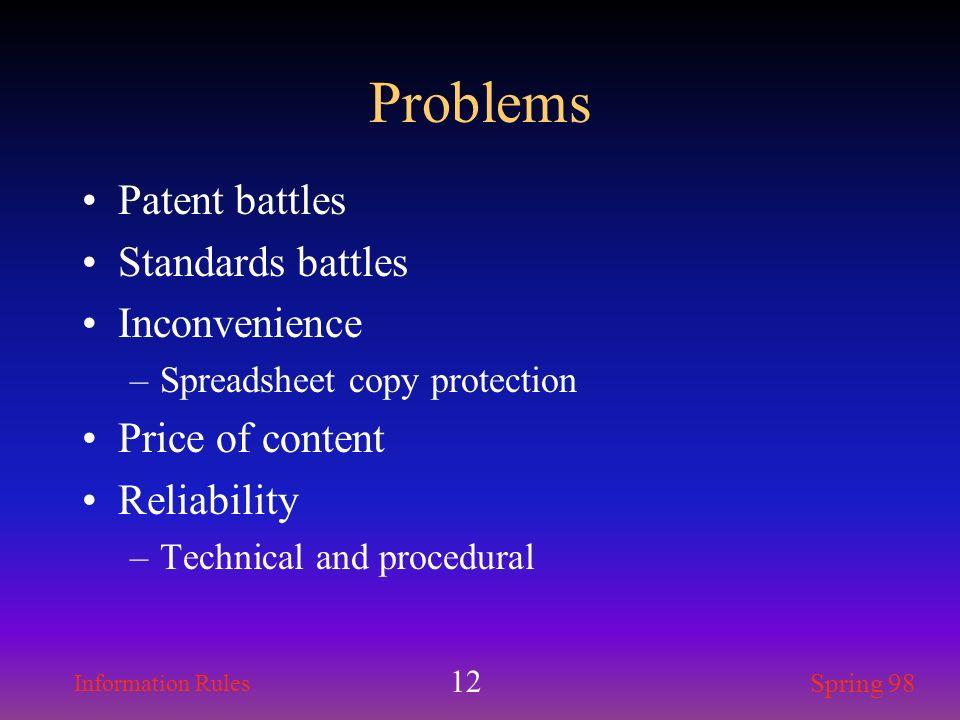 Problems Patent battles Standards battles Inconvenience