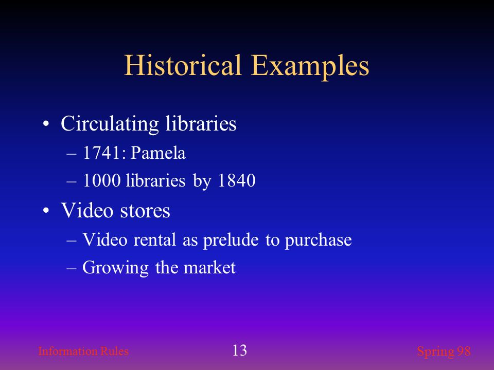 Historical Examples Circulating libraries Video stores 1741: Pamela