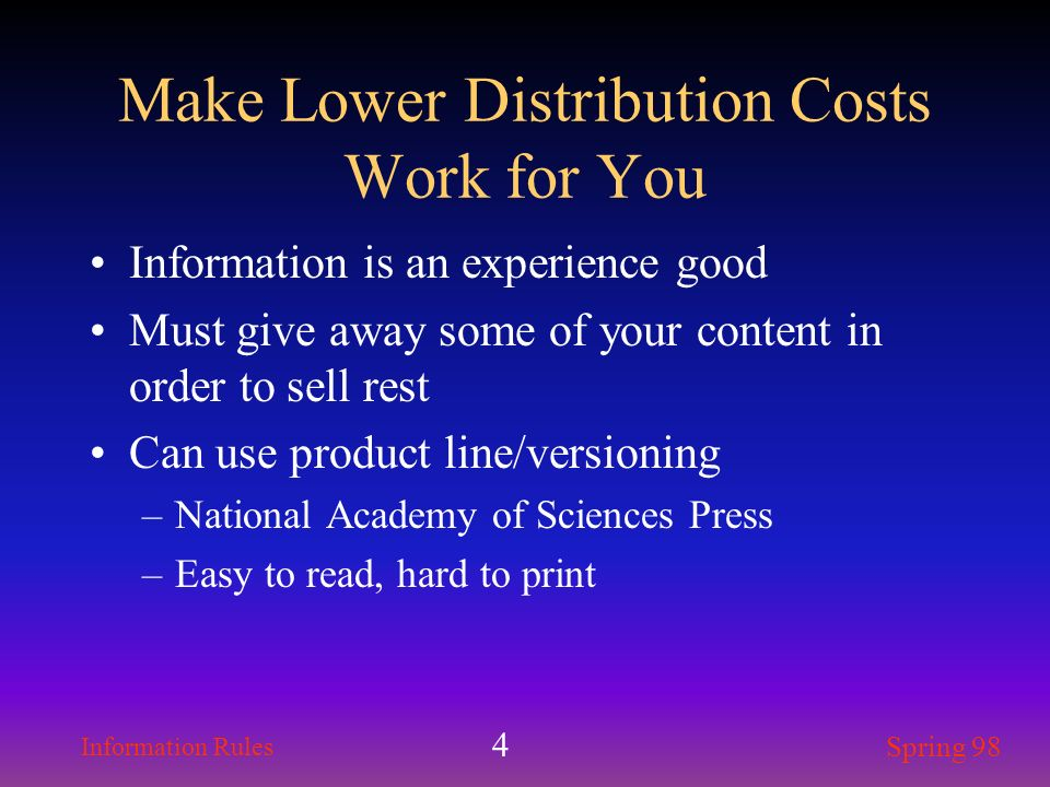Make Lower Distribution Costs Work for You