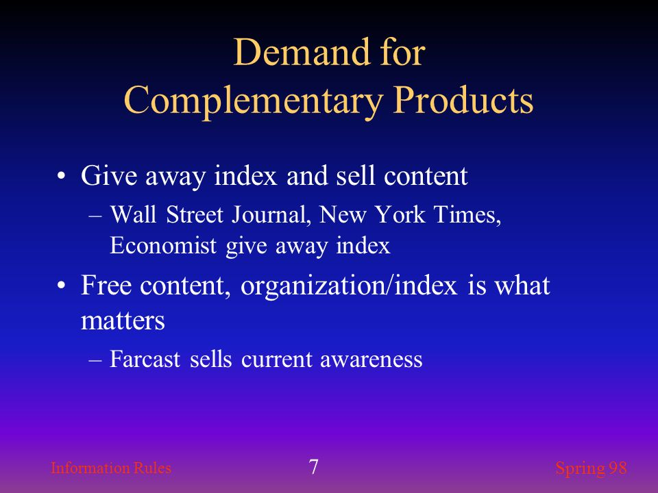 Demand for Complementary Products