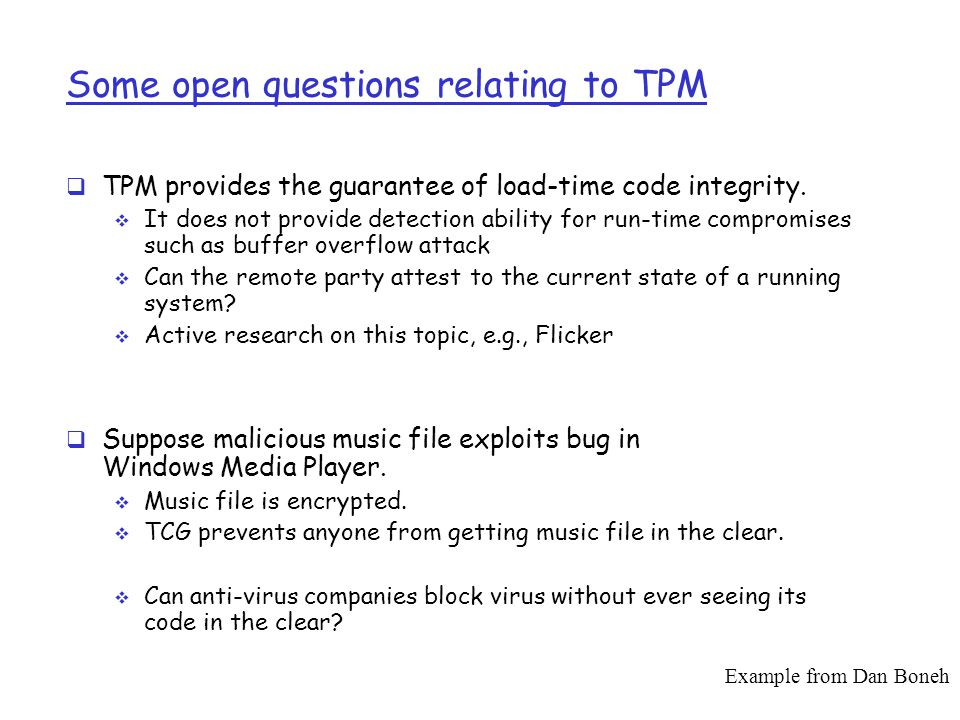 Some open questions relating to TPM