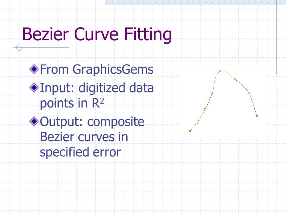 Bezier Curve Fitting From GraphicsGems