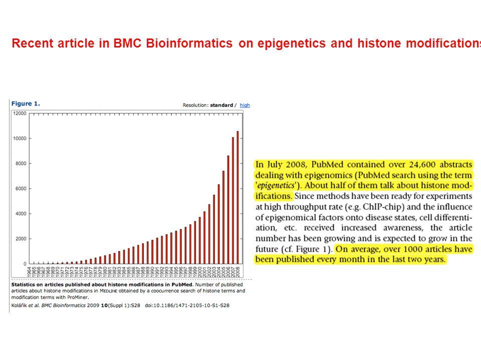 Recent article in BMC Bioinformatics on epigenetics and histone modifications