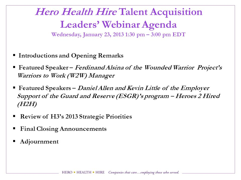Hero Health Hire Talent Acquisition Leaders' Webinar Agenda