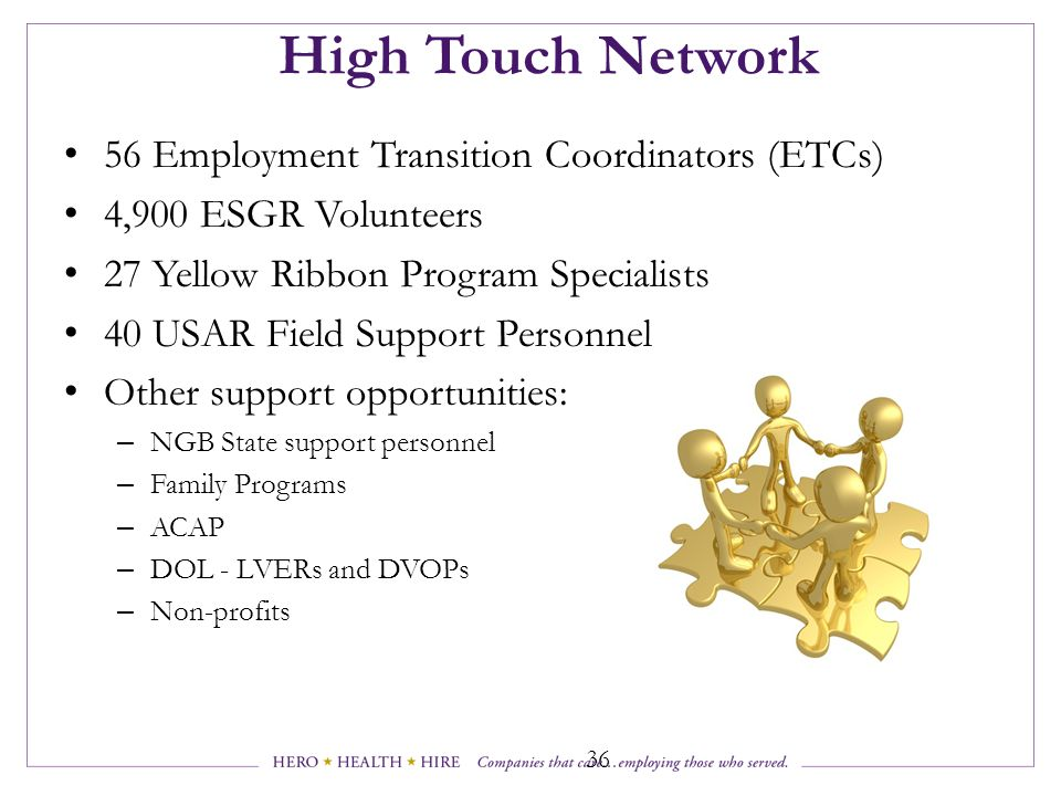 High Touch Network 56 Employment Transition Coordinators (ETCs)
