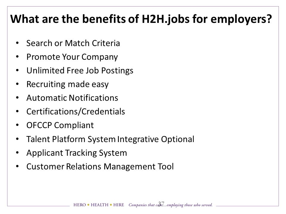 What are the benefits of H2H.jobs for employers