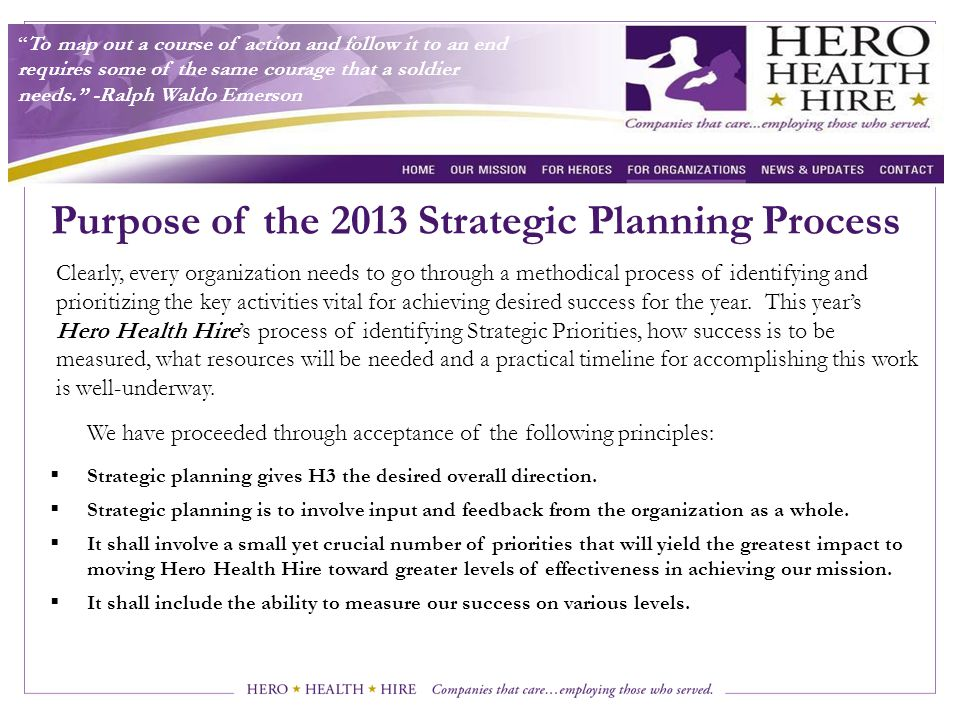 Purpose of the 2013 Strategic Planning Process