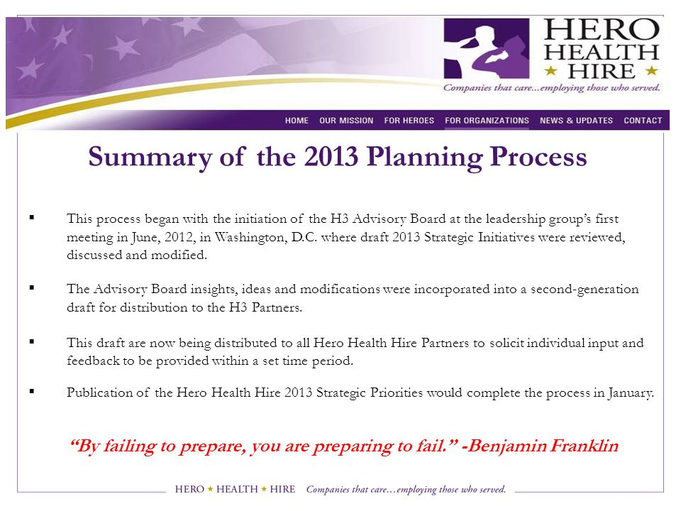 Summary of the 2013 Planning Process