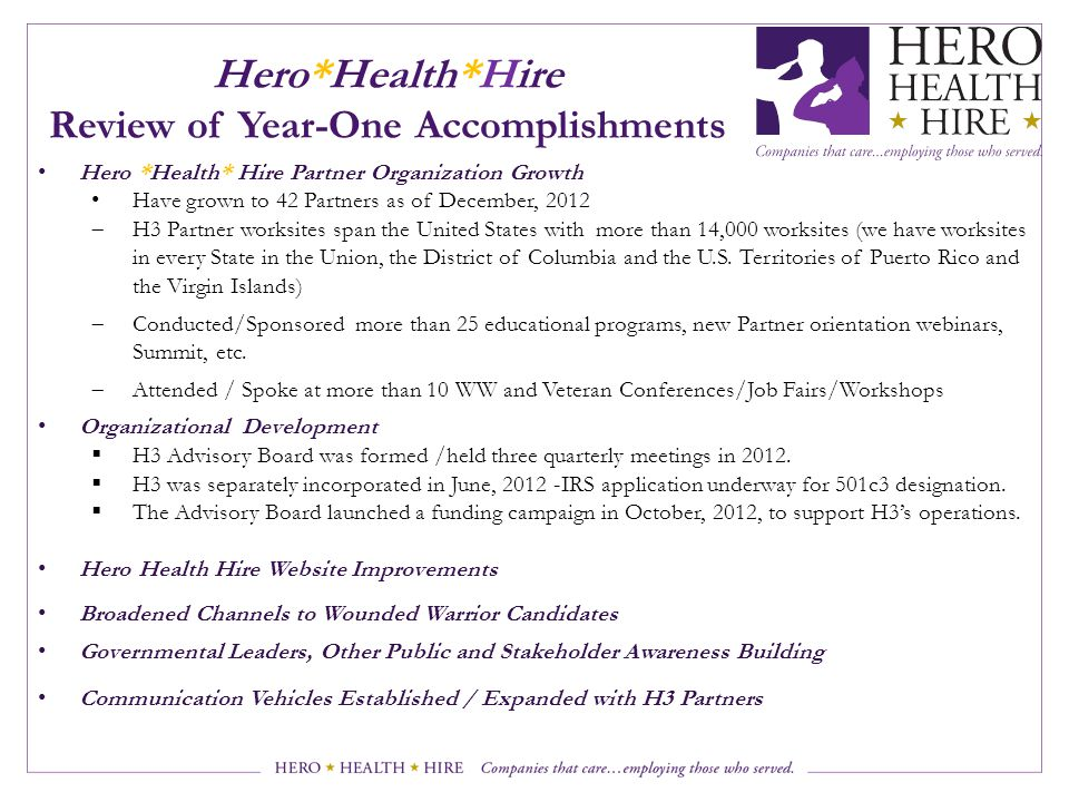 Hero*Health*Hire Review of Year-One Accomplishments