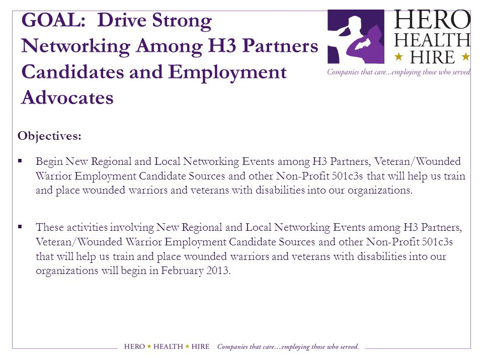 GOAL: Drive Strong Networking Among H3 Partners Candidates and Employment Advocates
