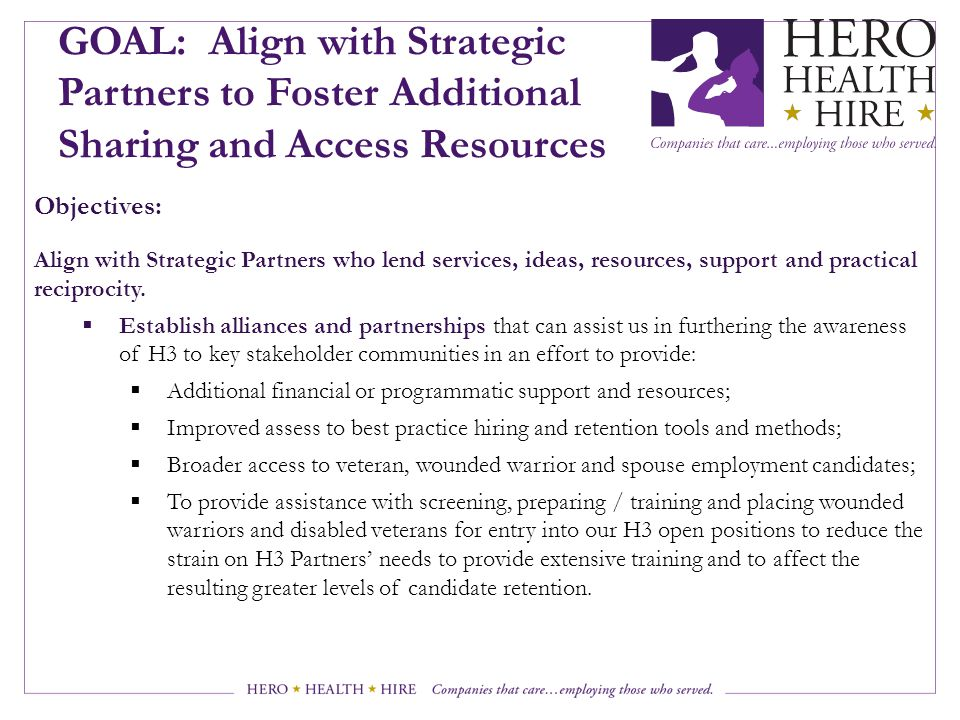 GOAL: Align with Strategic Partners to Foster Additional Sharing and Access Resources