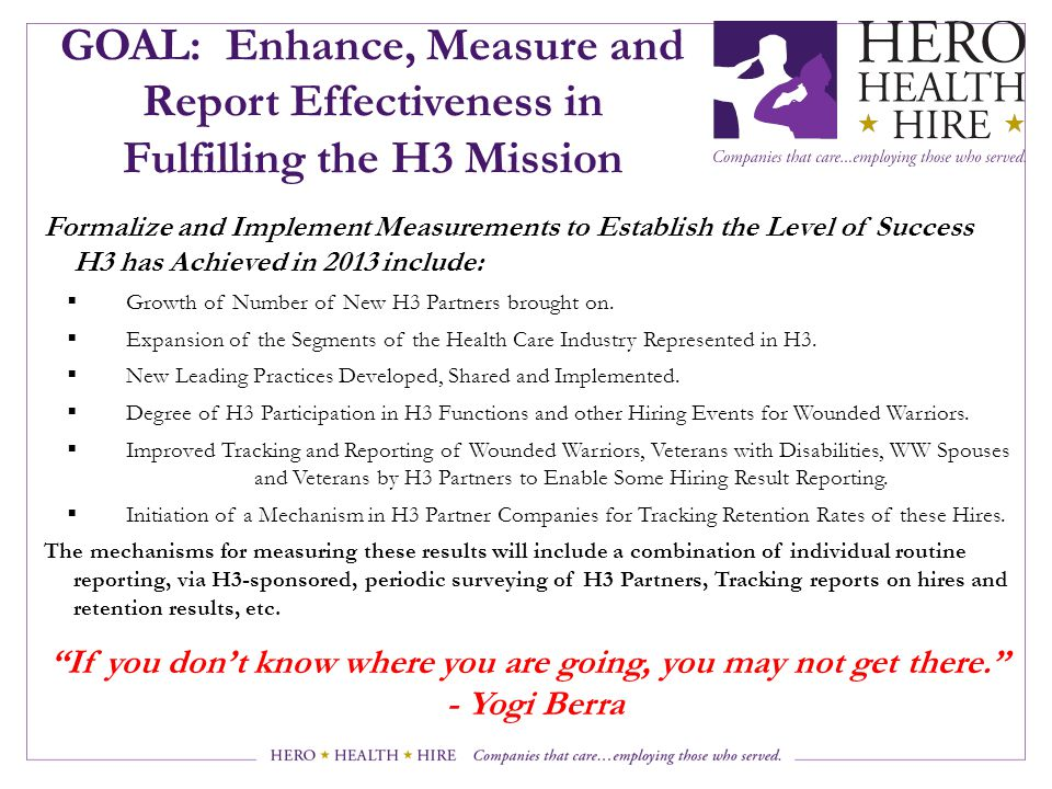 GOAL: Enhance, Measure and Report Effectiveness in Fulfilling the H3 Mission