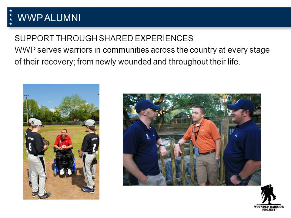 WWP ALUMNI SUPPORT THROUGH SHARED EXPERIENCES