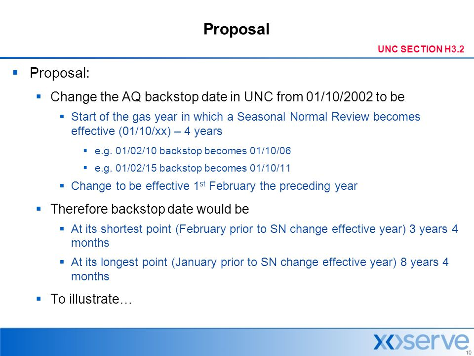 Proposal UNC SECTION H3.2. Proposal: Change the AQ backstop date in UNC from 01/10/2002 to be.