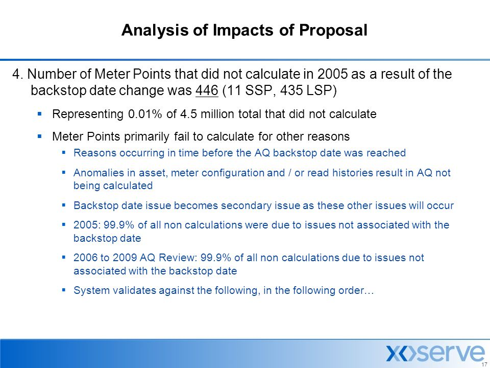 Analysis of Impacts of Proposal