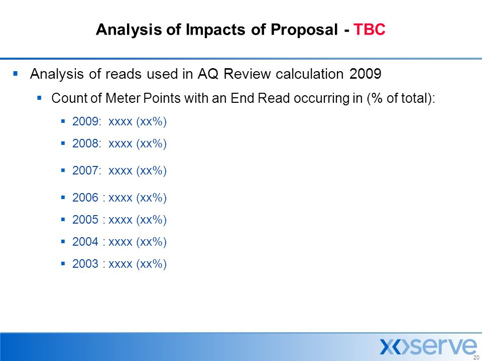 Analysis of Impacts of Proposal - TBC