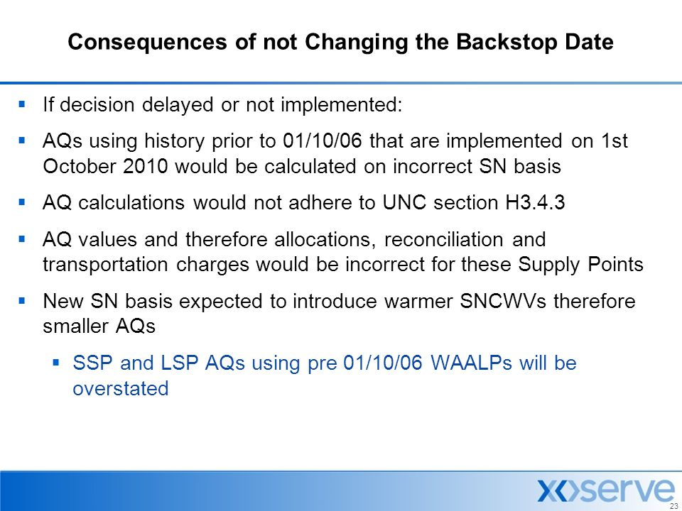Consequences of not Changing the Backstop Date
