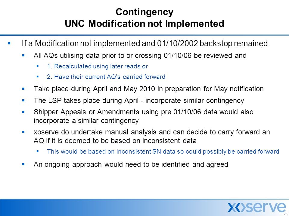 Contingency UNC Modification not Implemented