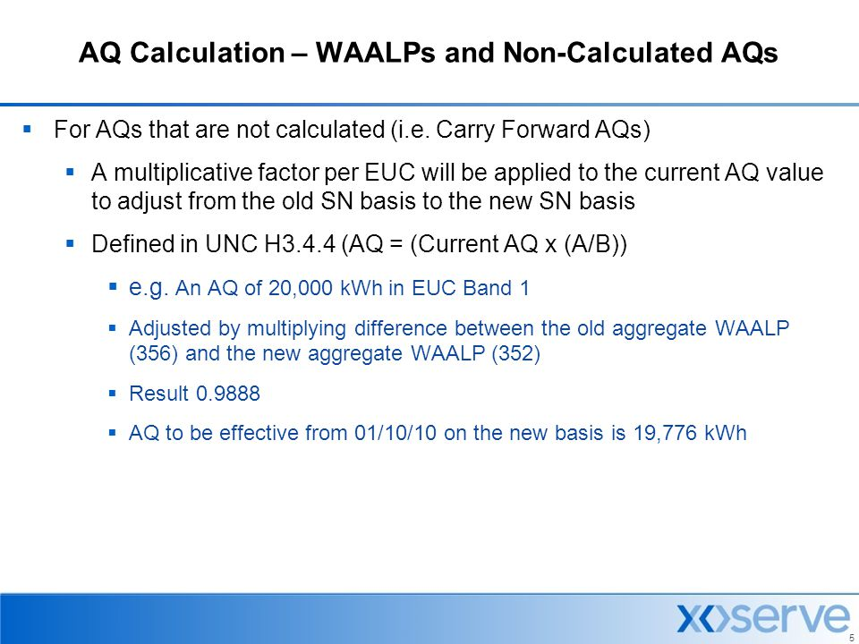 AQ Calculation – WAALPs and Non-Calculated AQs