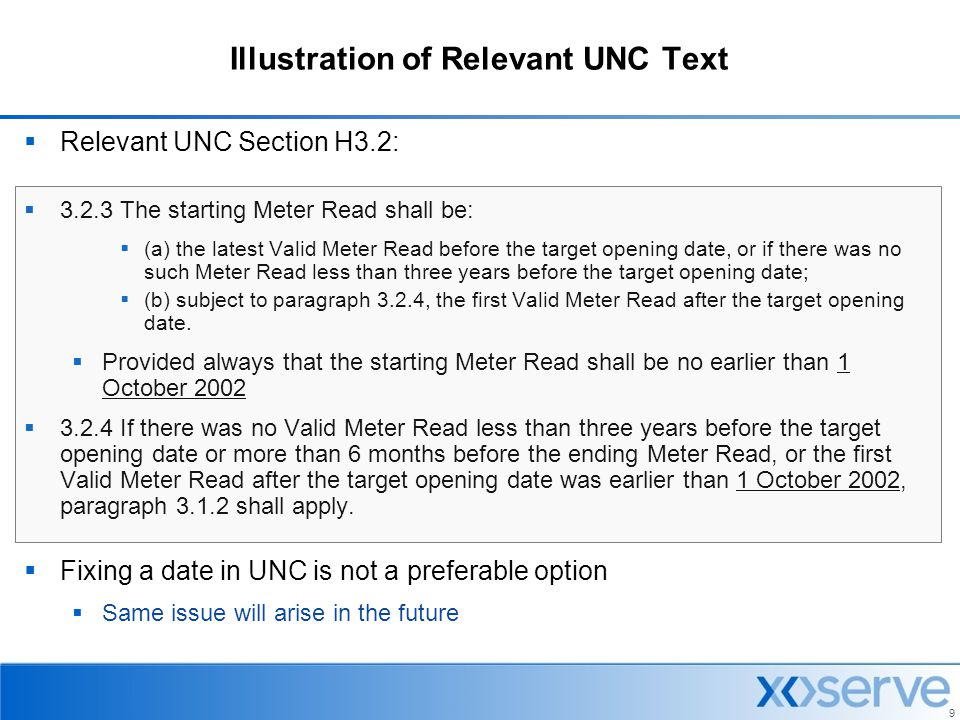 Illustration of Relevant UNC Text
