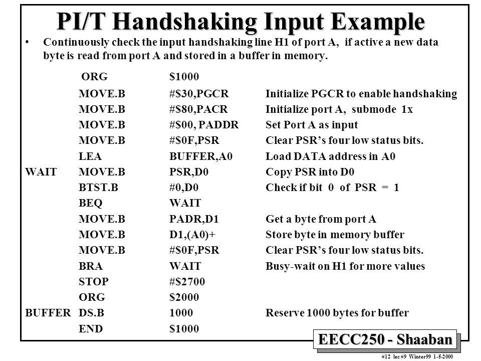 PI/T Handshaking Input Example