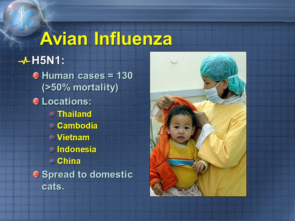 Avian Influenza H5N1: Human cases = 130 (>50% mortality) Locations: