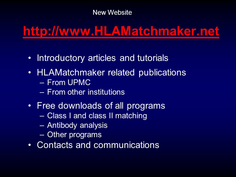 http://www.HLAMatchmaker.net Introductory articles and tutorials