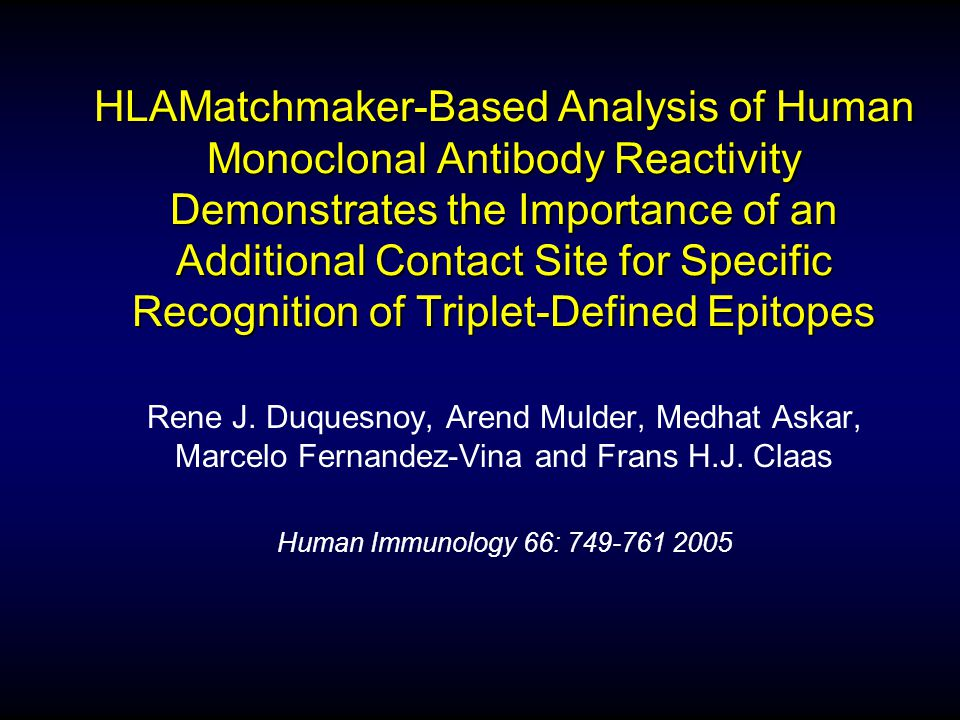 HLAMatchmaker-Based Analysis of Human Monoclonal Antibody Reactivity Demonstrates the Importance of an Additional Contact Site for Specific Recognition of Triplet-Defined Epitopes