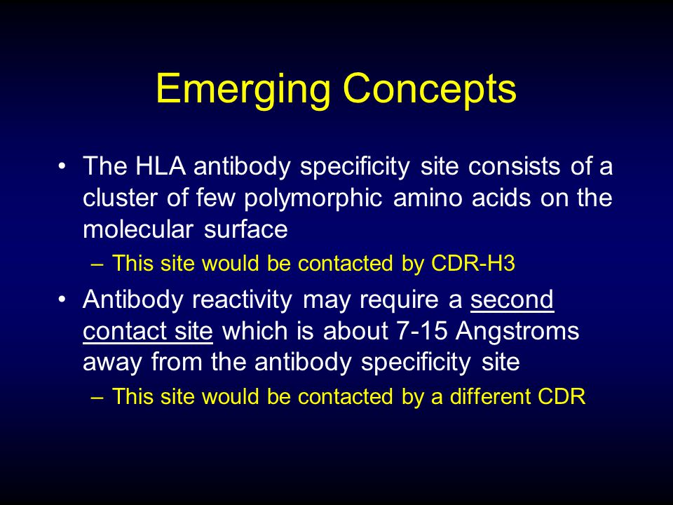 Emerging Concepts The HLA antibody specificity site consists of a cluster of few polymorphic amino acids on the molecular surface.