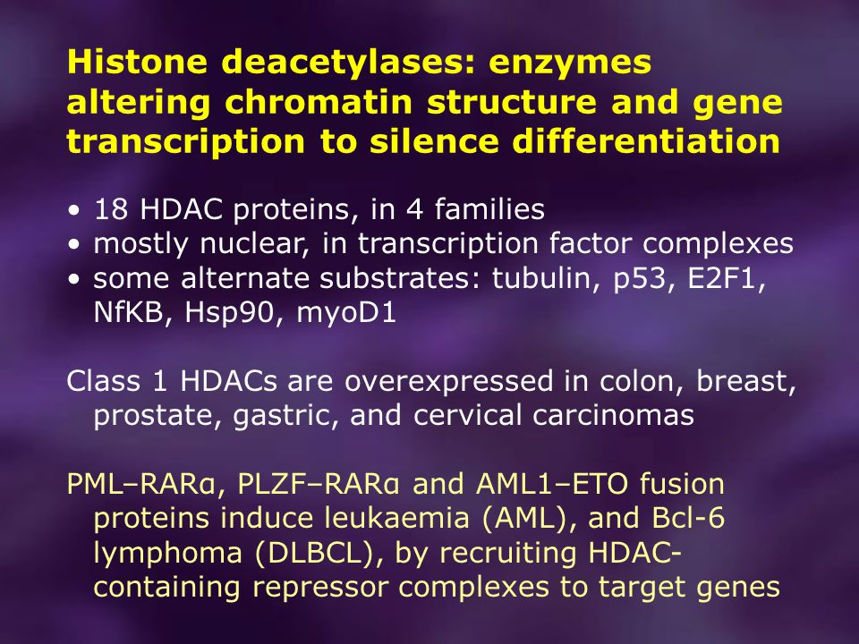 Histone deacetylases: enzymes altering chromatin structure and gene transcription to silence differentiation