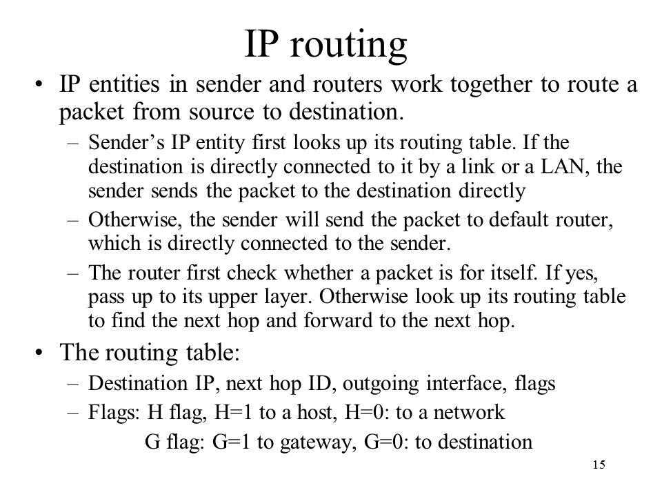 IP routing IP entities in sender and routers work together to route a packet from source to destination.