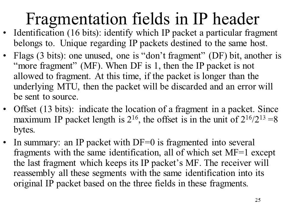 Fragmentation fields in IP header