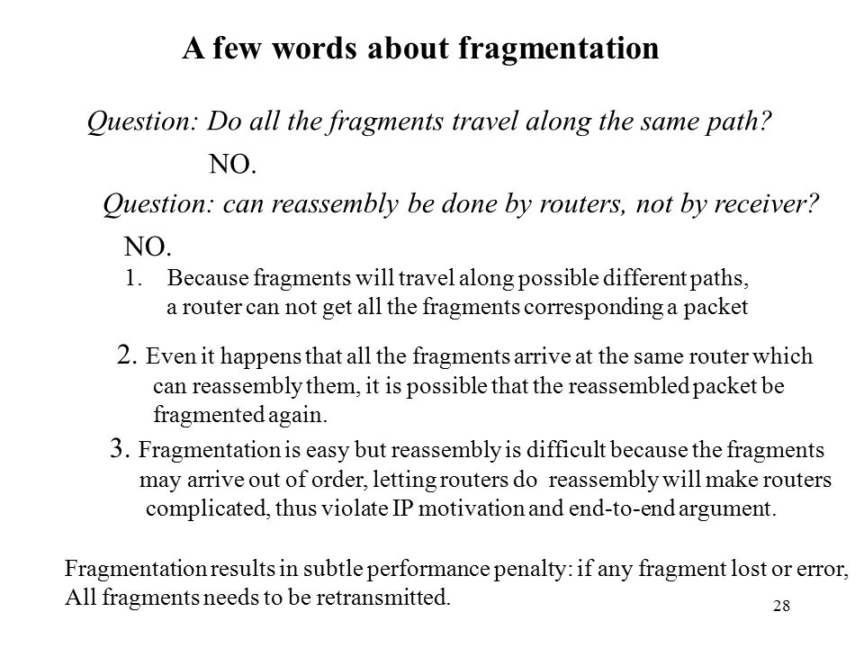 A few words about fragmentation